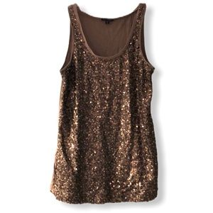 Express Brown Sequin Tank Size S